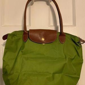 Green Longchamp small le pliage tote